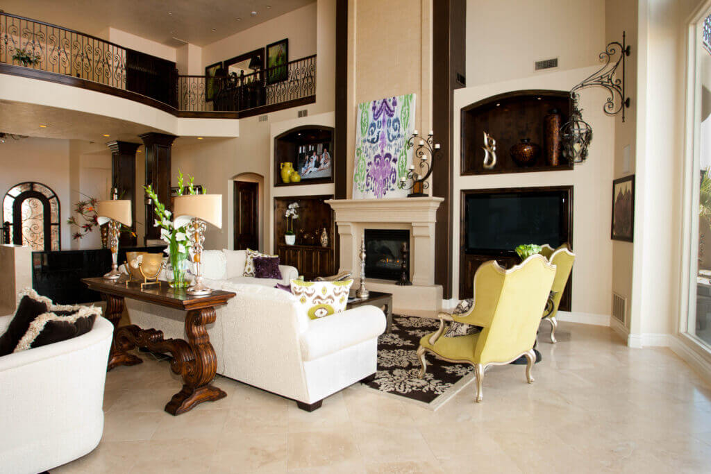 Fireplace and midcentury modern furniture by custom home builder in Southern Utah
