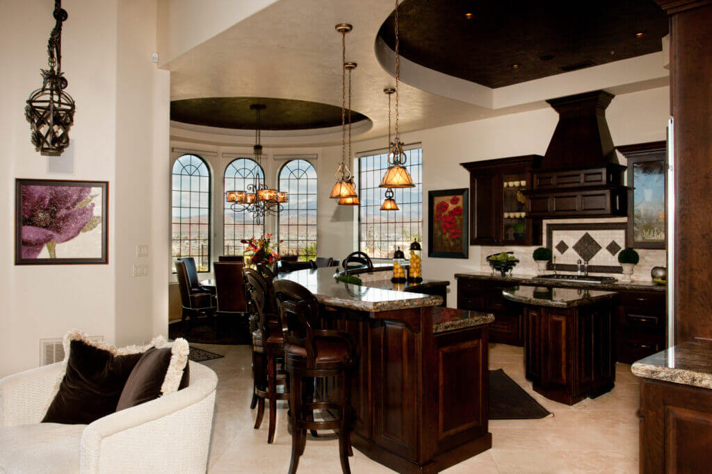 Kitchen with vintage pendant lights in St. George Utah with rounded window feature