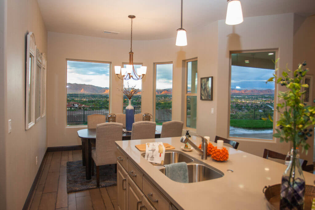 modern kitchen in Southern Utah with glass pendant lights