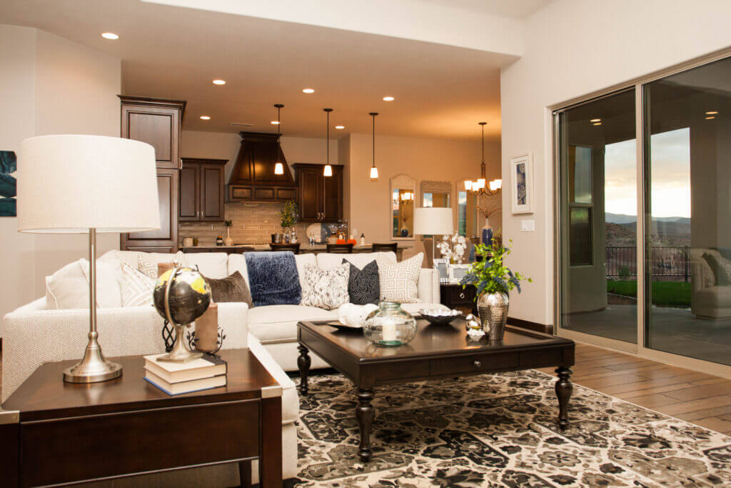 custom home in southern utah living room with coffee table and white couch