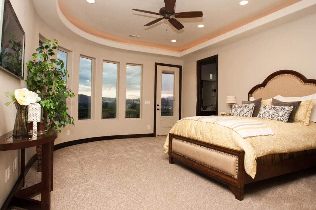 master bedroom in custom home built in St. George Utah