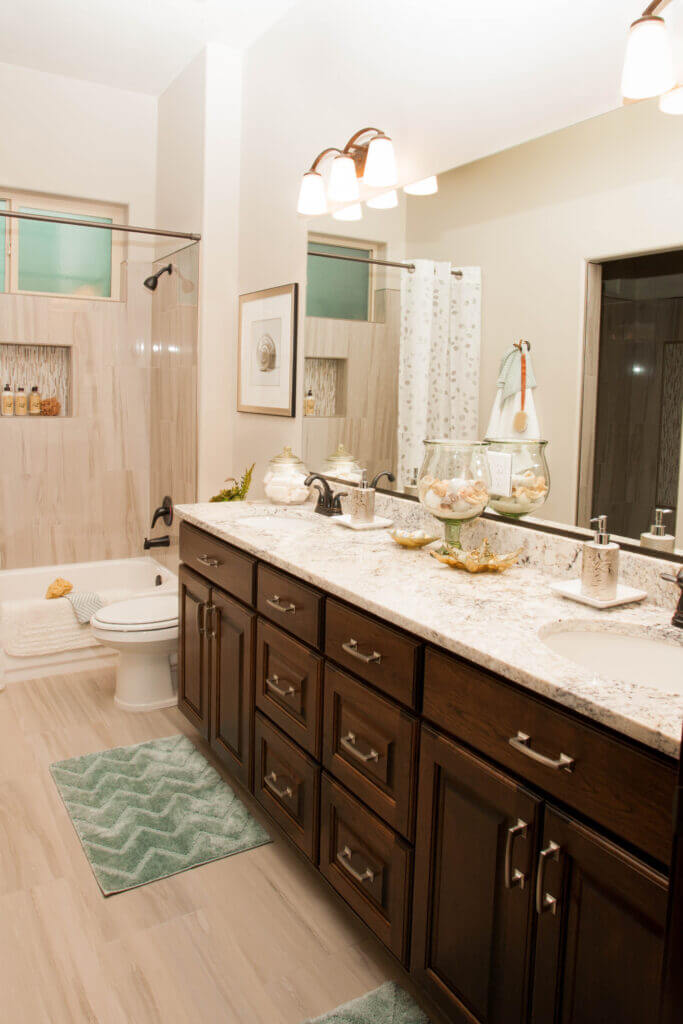 Bathroom cabinets and mirror in custom Southern Utah home