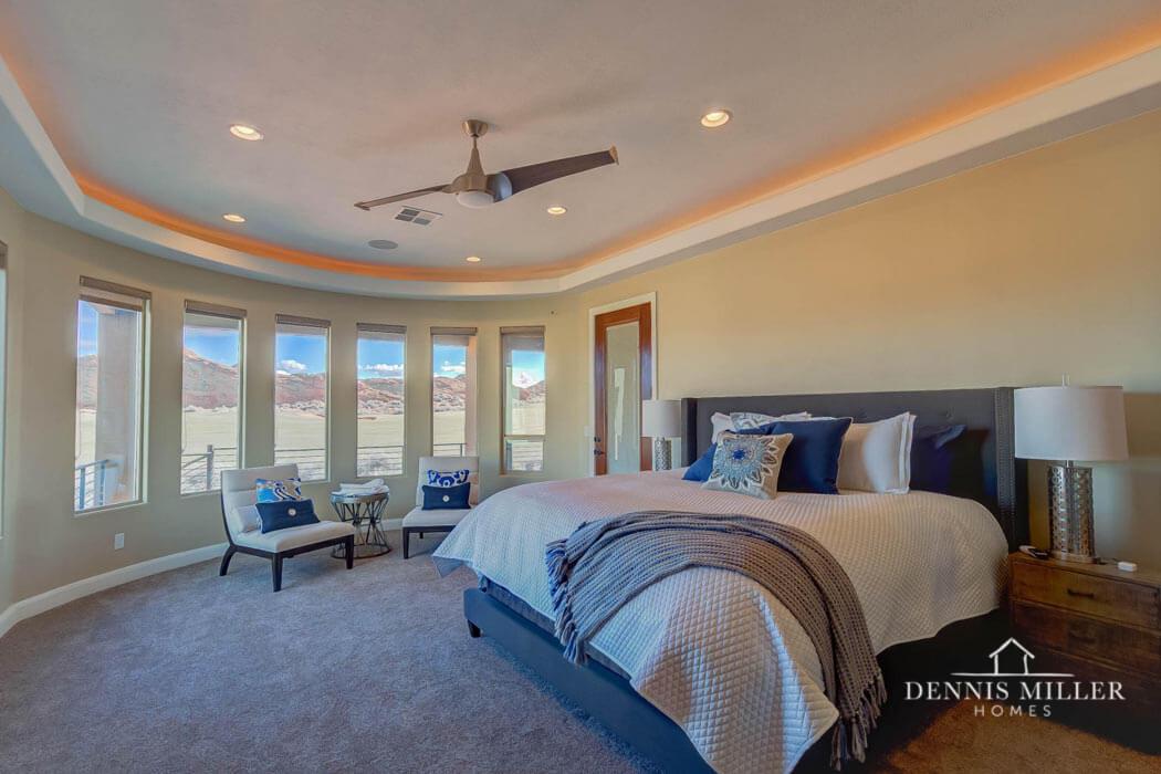 Master bedroom in custom home in Southern Utah - DMH home builders in St. George