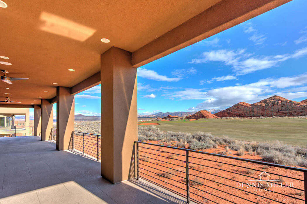 View of red rock in St. George designed by Southern Utah custom home builders DMH