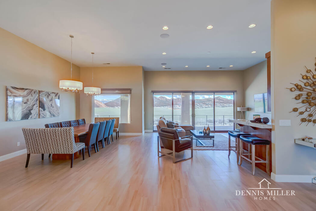 Furnished kitchen with wood floor in custom home in Southern Utah