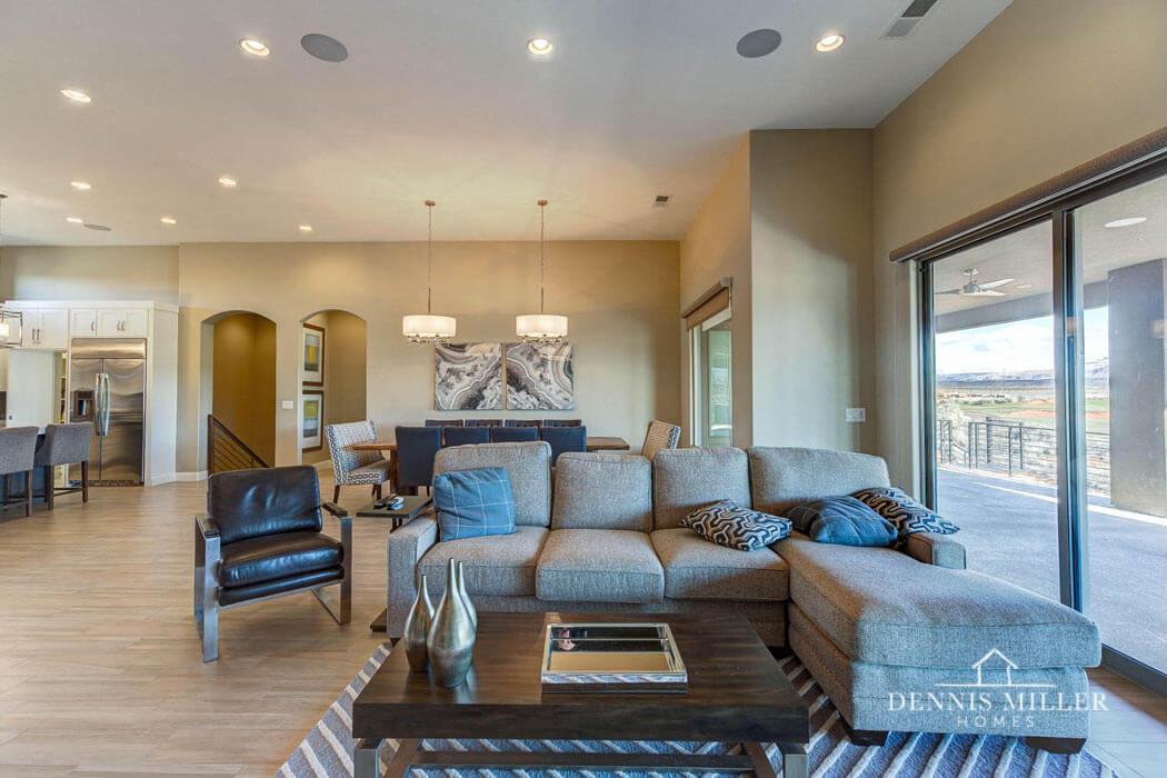 Desert living room in custom home in St. George by custom home builder in Southern Utah