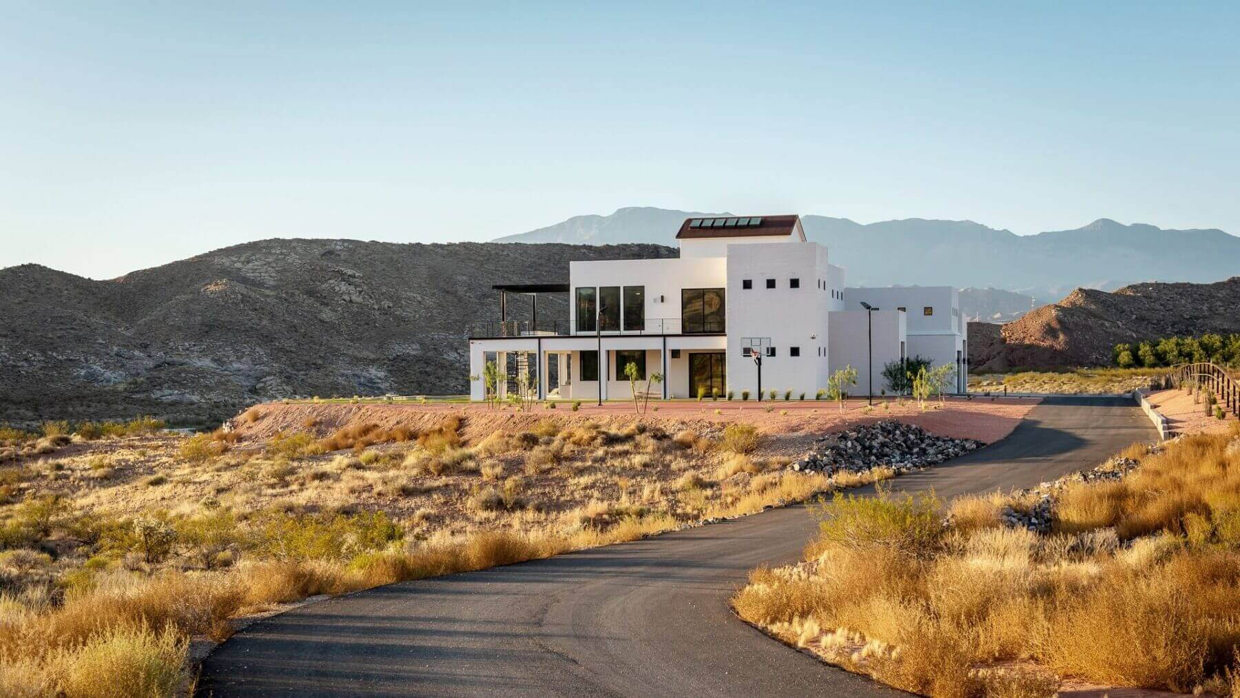 St. George Home White Exterior - Modern Southern Utah Home