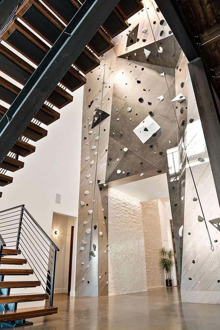 Indoor Rock Wall - St. George Luxury Custom Home Interior
